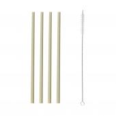 Набор из 4 соломинок из бамбука и щеточки Colour