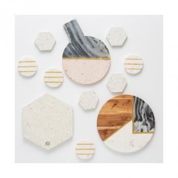 Доска сервировочная из мрамора и камня Elements, 25 см